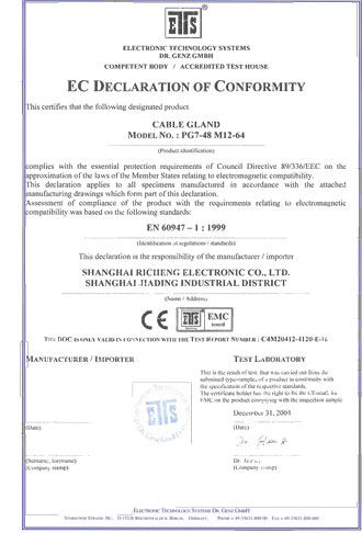 RCCN Cable Gland CE certificate