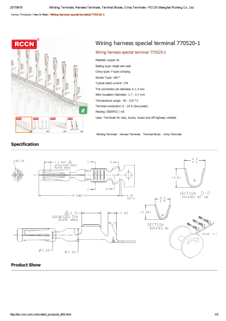 Wire harness special terminal 770520-1 Specification
