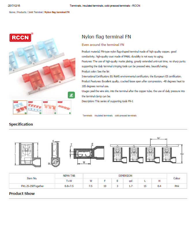 Nylon flag terminal FN  Specifications