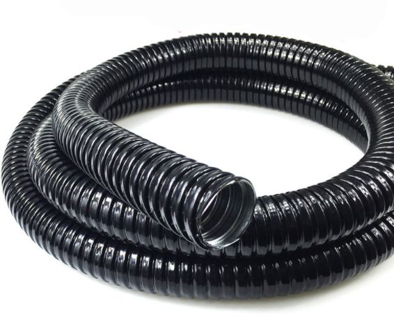 Plastic coated metal hose application field
